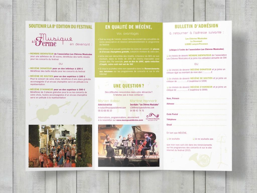 Sponsoring leaflet for the music festival Musique à la Ferme © calliopé studio, 2015