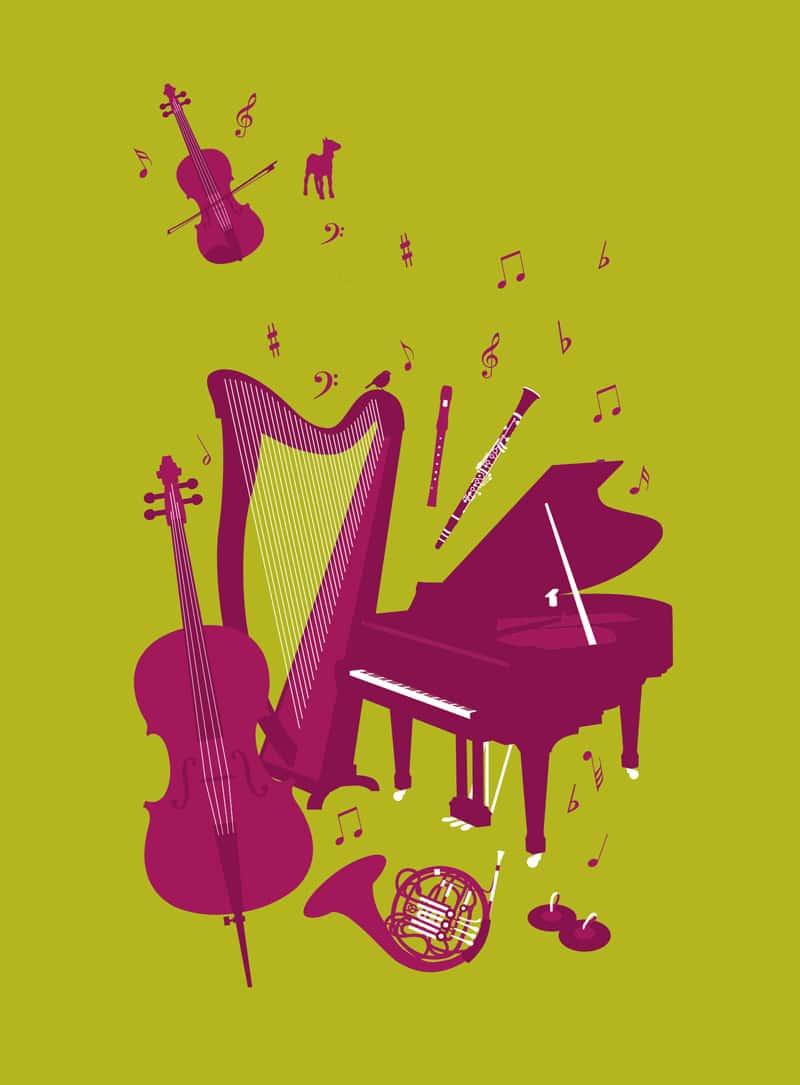 Illustration for the sponsoring leaflet for Musique à la Ferme Production © calliopé studio 2015