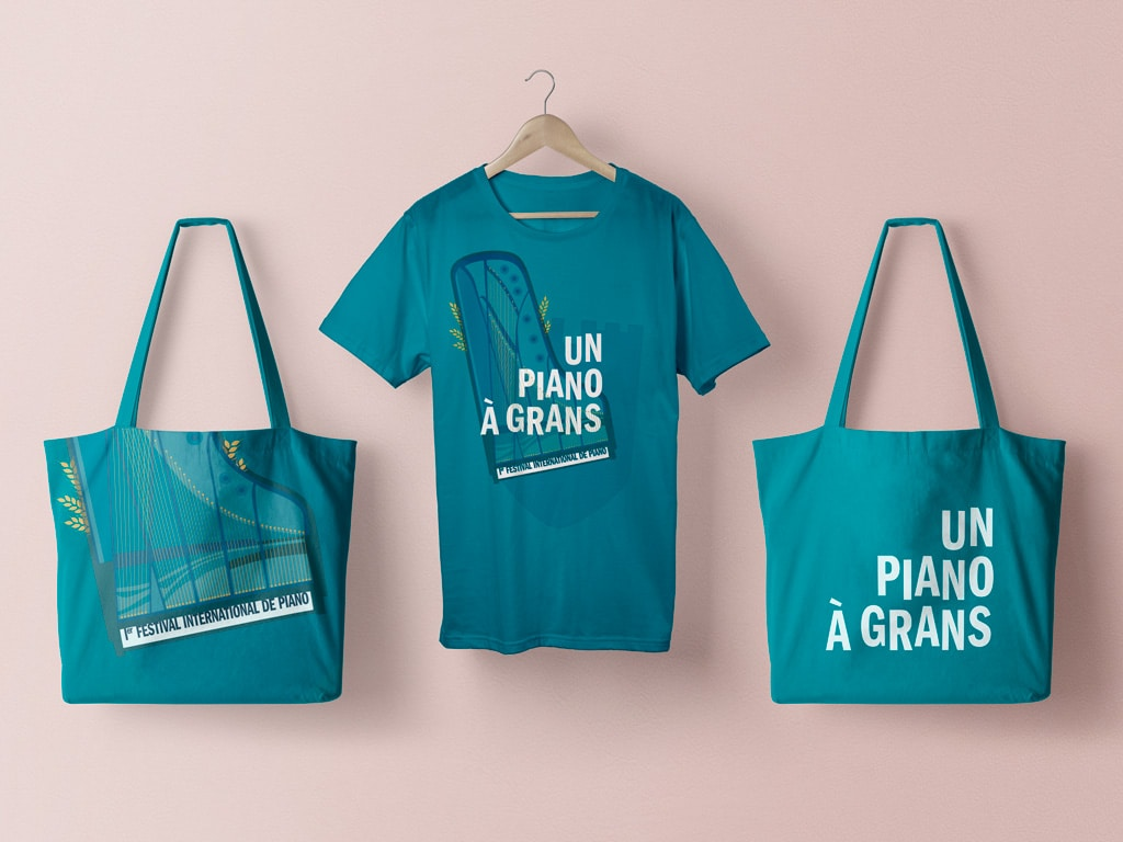 Tote bags and T-shirts for the International Piano Festival, Un Piano à Grans