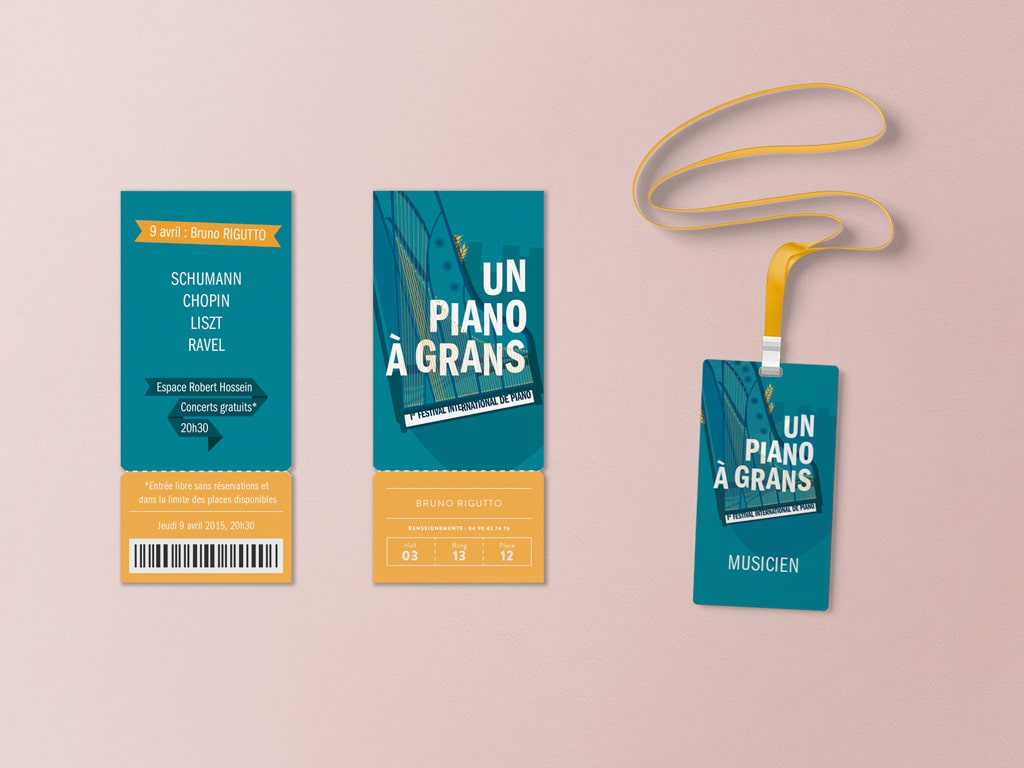 Tickets and badges for the International Piano Festival, Un Piano à Grans