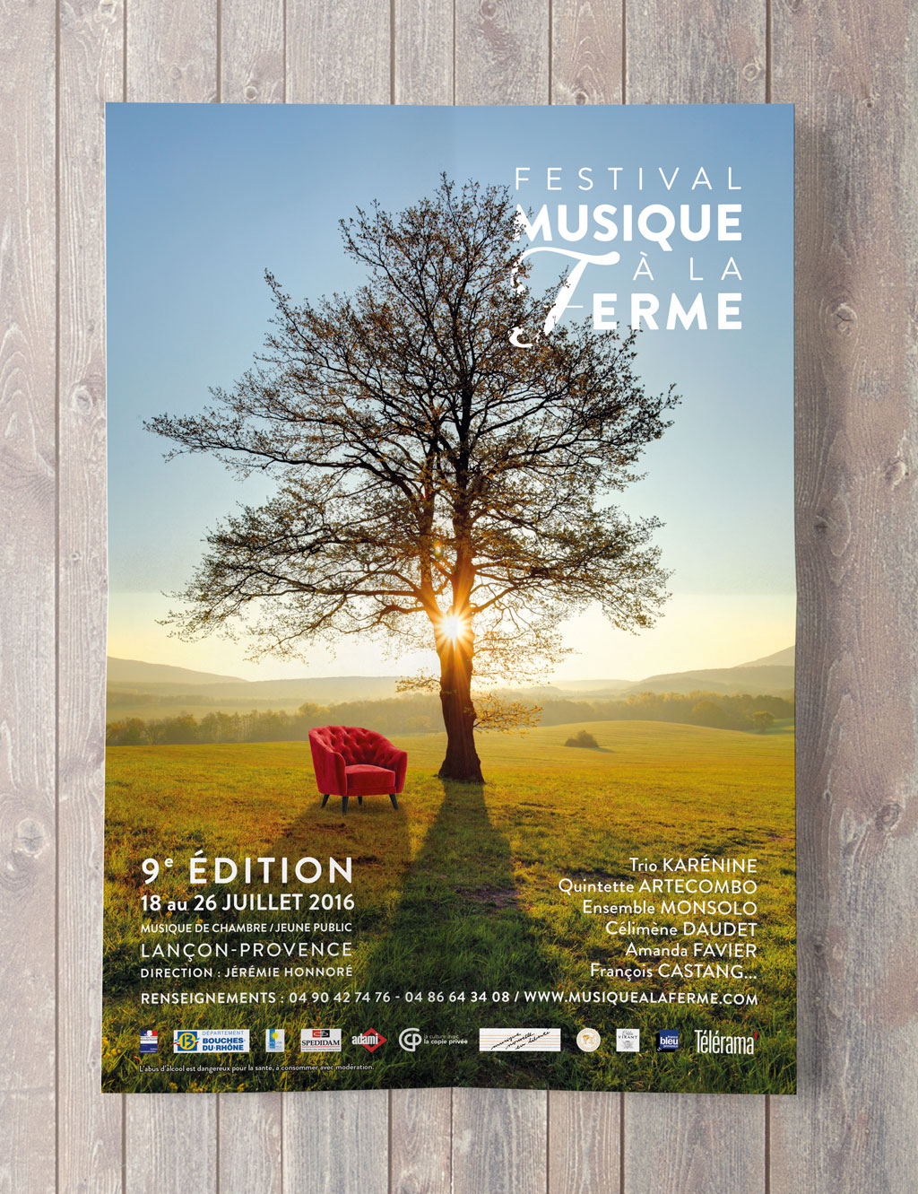 Poster for the Classical music Festival Musique à la Ferme during the 2016 summer in Provence © Calliopé Studio, Marine Pavé 2016