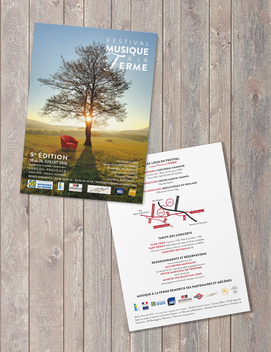 Flyer for the Classical music Festival Musique à la Ferme during the 2016 summer in Provence © Calliopé Studio, Marine Pavé 2016