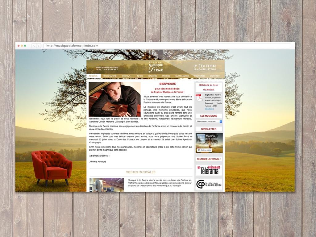 Webdesign of the Classical music Festival Musique à la Ferme site during the 2016 summer in Provence © Calliopé Studio, Marine Pavé 2016