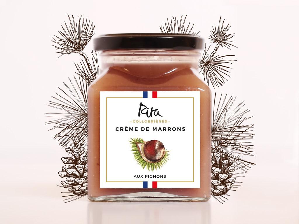 Visual identity and packaging for the artisanal Chesnut cream Rita Collobrières,from Provence © Calliopé Studio, Marine Pavé 2016