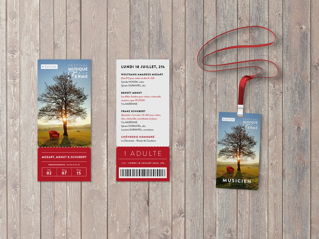 Tickets & Badges for the 2016 Classical music Musique à la Ferme Festival in Provence © Calliopé Studio, Marine Pavé 2016