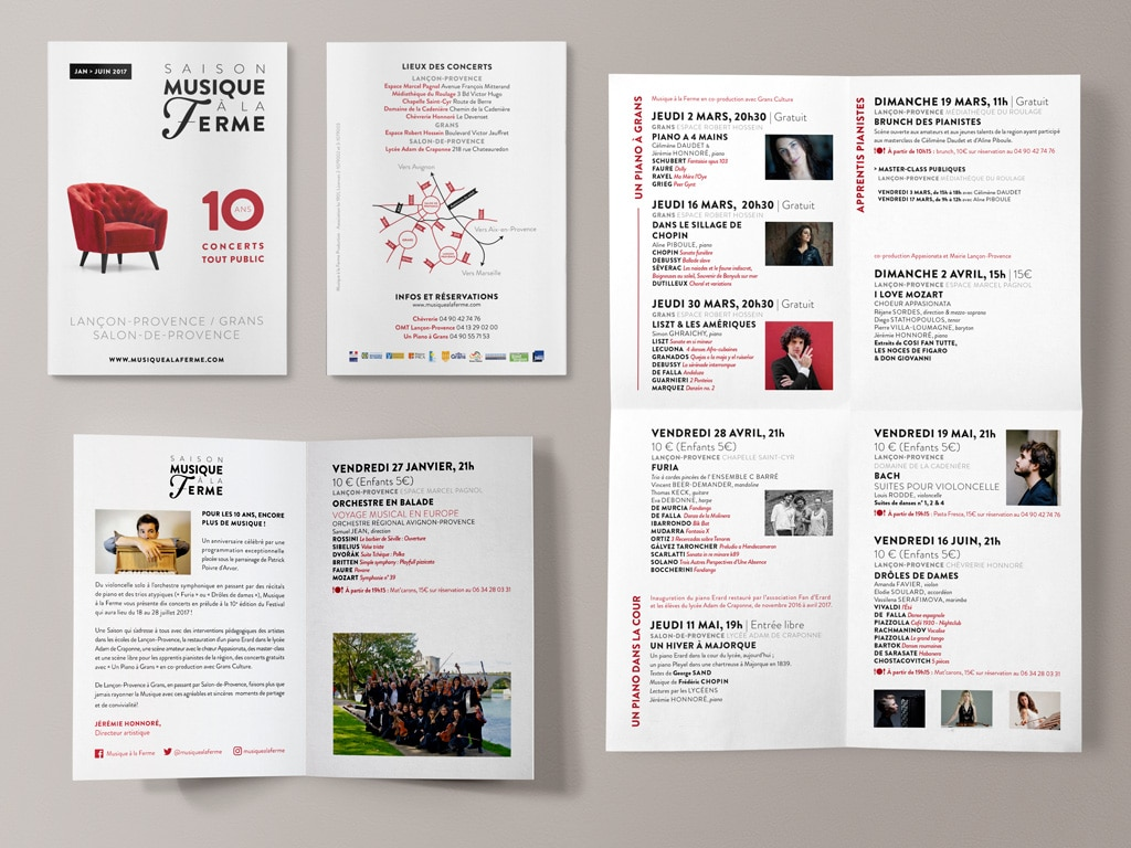 Program for the 2017 Classical music Musique à la Ferme Season in Provence © Calliopé Studio, Marine Pavé 2017