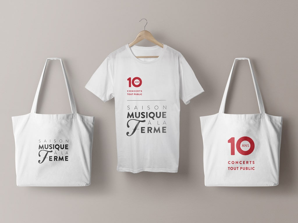 Tote bag & T-shirt of the 2017 Classical music Musique à la Ferme Season in Provence © Calliopé Studio, Marine Pavé 2017